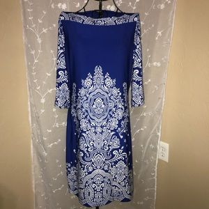 Intricately Designed Blue and White Dress - Med